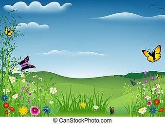 Un paisaje primaveral con mariposas