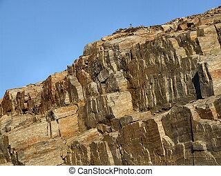 Un paisaje rocoso, pared de piedra desnuda