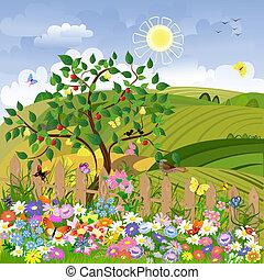 Un paisaje rural con árboles frutales y una cerca