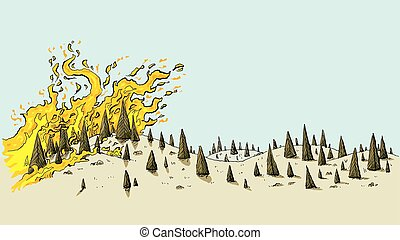 Un paisaje salvaje de fuego