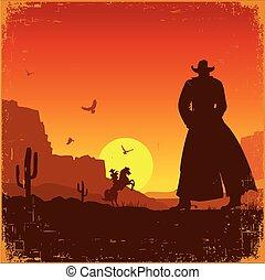 Un paisaje salvaje del oeste americano. Un póster de Vector Western