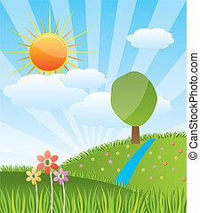 Un paisaje soleado de primavera con bosque