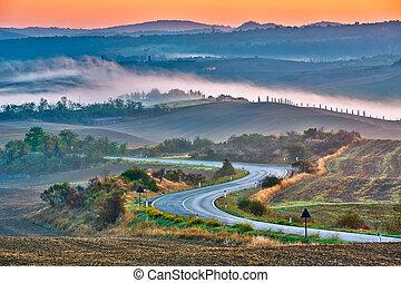 Un paisaje toscano al amanecer