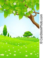 Un paisaje verde con flores