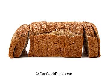 Un pan de grano entero en blanco