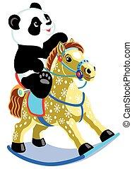 Un panda de dibujos animados montando unas putas mecedoras