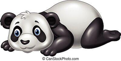 Un panda divertido de dibujos animados acostado