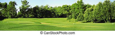 Un panorama de campo de golf