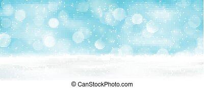 Un panorama de fondo azul claro de invierno bokeh