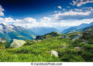 Un panorama de la montaña desde el campo de batalla y el bettmeralp, Wallis, Suiza