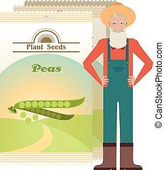 Un paquete de icono de semillas de guisantes