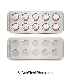 Un paquete de pastillas rosas aisladas en el fondo blanco