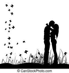 Un par de besos en una pradera, negra