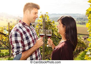 Un par de copas de vino en un viñedo