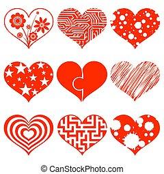 Un par de corazones. Ilustración de acciones.