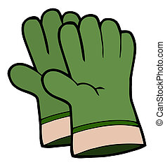 Un par de guantes verdes