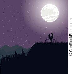 Un par de siluetas bajo la luna en bicicleta romance de bicicleta