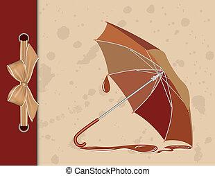 Un paraguas abierto de fondo antiguo