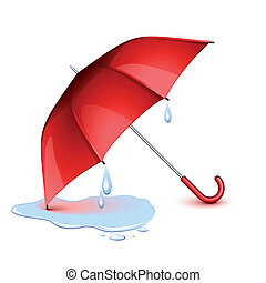 Un paraguas mojado