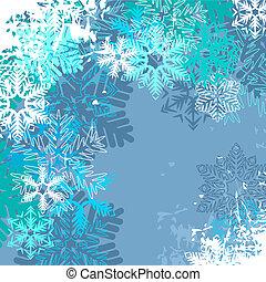 Un pasado de invierno azul claro con diferentes copos de nieve