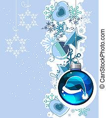 Un pasado de Navidad azul con bolas colgando