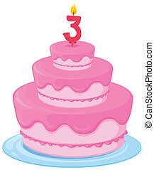 Un pastel con vela