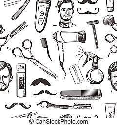Un patrón de barbería a mano sin costura