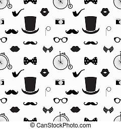 Un patrón de hipster blanco y negro