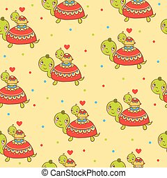 Un patrón de niños sin forma con tortugas.
