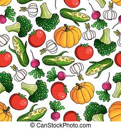 Un patrón fresco de vegetales sin costura