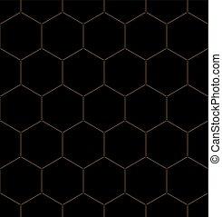 Un patrón gráfico de panal dorado sobre negro