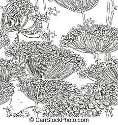 Un patrón gris de flores sin costura
