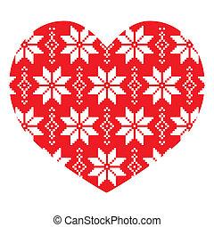 Un patrón nórdico de corazón rojo