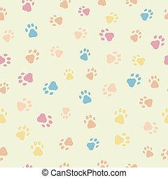 Un patrón sin costura de huellas de perros gatos