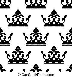 Un patrón sin forma de siluetas de corona real