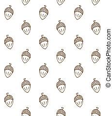 Un patrón vector de bellotas sin costura de mano marrón
