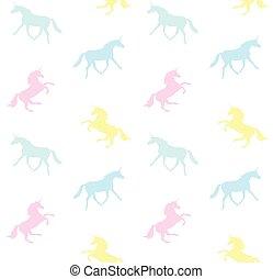 Un patrón vector de unicornio pastel