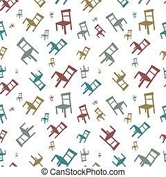 Un patrón vector sin costura con sillas coloridas en un fondo blanco