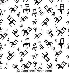Un patrón vector sin costura con sillas negras en un fondo blanco