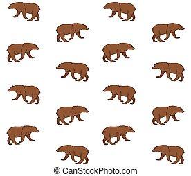 Un patrón vector sin costura de oso marrón dibujado a mano
