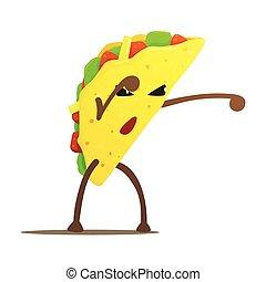 Un peleador de tacos mexicanos, comida rápida un tipo malo de dibujos animados peleando con ilustraciones