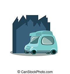 Un pequeño coche de reparto con paisaje urbano