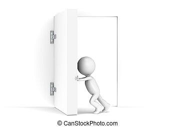 Un pequeño personaje humano 3D abre una puerta enorme