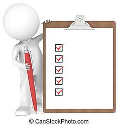 Un pequeño personaje humano con un Clipboard y Pen