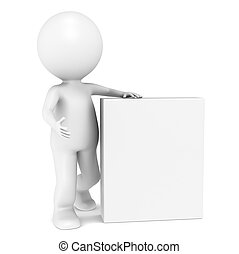 Un pequeño personaje humano en 3D con Blank Product Box