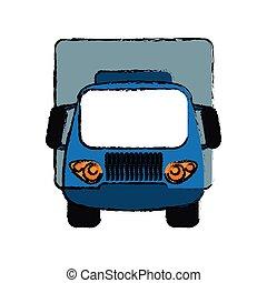 Un pequeño sketch de transporte de carga azul
