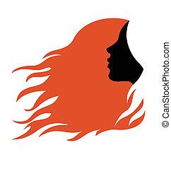 Un perfil de mujer con cabello rojo