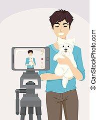 Un perro adolescente con ilustraciones