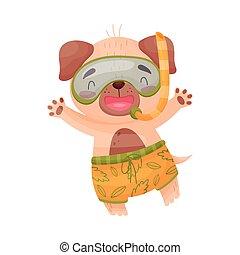 Un perro humano con una máscara de natación. Ilustración de vectores sobre fondo blanco.