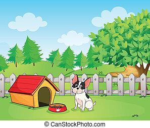 Un perro pequeño dentro de la cerca